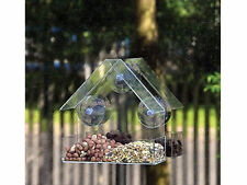 GLASS WINDOW BIRD FEEDER TABLE SEED HANGING SUCTION PERSPEX CLEAR VIEWING