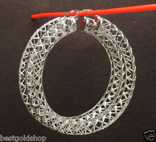 "2.25"" Technibond Large Open Filigree Hoop Earrings Platinum Clad 925 Silver"