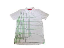 Mens Puma Graphic Pique Golf Polo T-Shirt Tee Top S Cotton Mix Rrp £40 White @