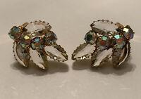 Vintage Open Back Crystal Rhinestone Aurora Borealis Clip Earrings Gold Tone