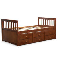 Twin Captain's Bed Bunk Bed Alternative w/ Trundle & Drawers for Kids Walnut