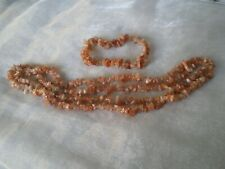 Sunstone set of necklace & bracelet, 200 carats, on stretchy jewellery elastic