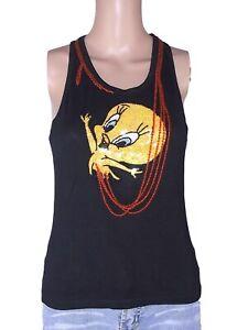 tweety maglia t shirt donna nero senza maniche paillettes s small