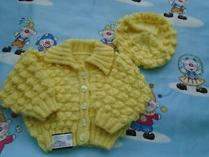 """New Hand Knitted Yellow Bobble Cardigan with Hat 20/22"""" chest"""