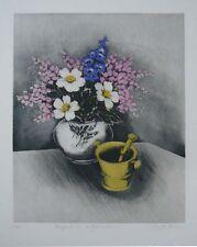 """Annapia Antonini """"Bouquet au Delphinium"""" Original Etching S/N"""