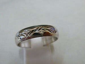 Ladies 9ct White Gold Patterned Band Wedding Ring - Size R