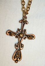 Lovely Open Swirled Amber Rhinestone Cross Necklace  ++++