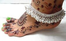 NEW KUCHI TRIBAL BELLY DANCE SILVERTON ANKLET PAYAL SILVER BELLS JEWELRY INDIA