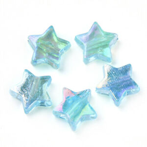 Cyan Acrylic Beads Star 10mm AB Pack Of 100+