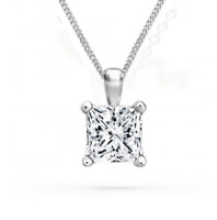 1 Ct Princess Cut Diamond Pendant with Chain Solitaire Necklace 14k White Gold