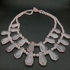 """19"""" 2 rows Natural Rose Quartz Top drilled Faceted Necklace"""