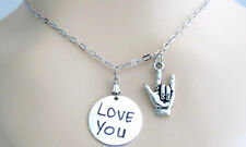 I love You Sign Necklace American Sign Language Best friend Necklace