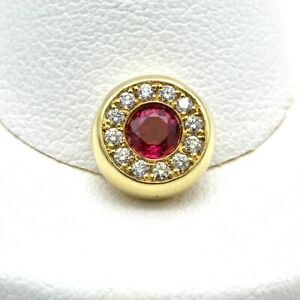 18K YELLOW GOLD ROUND BRILLIANT CUT RUBY DIAMOND SLIDE BEZEL PENDANT NR #1088B-6