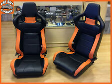 Pair BB6 Reclining Tilting Bucket Sports Seats Black / Orange Universal Design
