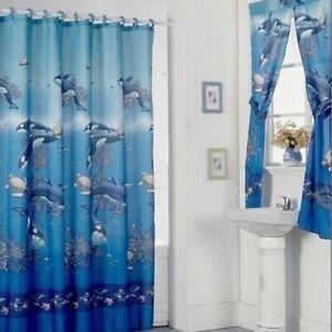 Orca Whales Sea Turtles Blue Ocean Shower Curtain Fabric Bath Window Set 72 in