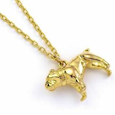 Sterling Silver with Gold Plate English Bulldog Pendant Necklace