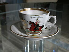 Antique 1885 Mark KPM Coffee Cup and Saucer Calvary Soldier Motto Emma Henburger