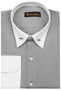 Jack Martin - Ash Grey Oxford Pin Collar Slim Fit Shirt with Free Collar Bar