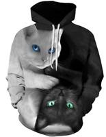 Funny 3D Cat Black & White Hoodies Sweatshirt Casual Style Men Women Tee S - 6XL