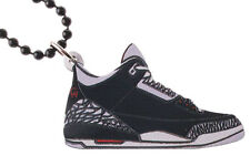Good Wood NYC Black Cement 3 Wooden Sneaker Necklace Black/Grey Shoes III Kicks