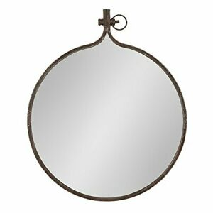 Kate and Laurel Yitro Round Industrial Rustic Metal Framed Wall Mirror 23.5x2...