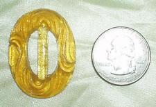 GOLDEN YELLOW ANTIQUE CZECH GLASS SLIDE BUCKLE TRIM SCARF CLASP BUTTON