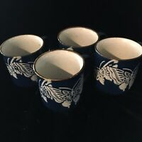 Butterflies Stoneware Coffee Mug - Blue Glaze Over White  Set Of 4