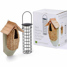 Wild Bird Wooden Nesting Box Pouch & Fat Ball Feeder Small House Birthday