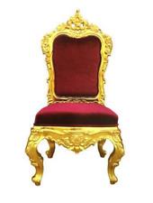 Chair Throne Armchair Set Dining Designer Wood Antique Style Baroque Rococo Samt