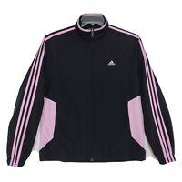 Adidas Vtg OLD SCHOOL Track Jacket Womens L Black Pink Mock Colorblock Full Zip