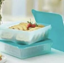 TUPPERWARE SNACK STOR SQUARE SHEER CONTAINERS BAKED GOODS WRAPS DELI SET/2 BLUE