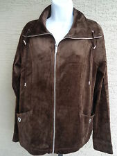NEW JONES OF NEW YORK OF  SIGNATURE ZIP FRONT LIGHTWEIGHT VELOUR JACKET BROWN M