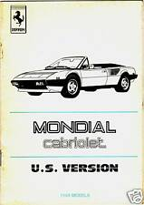 ALLEGATO LIBRETTO USO E MANUTENZIONE - FERRARI MONDIAL CABRIOLET USA CAT. 309/84