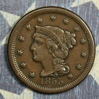 1855 BRAIDED HAIR LARGE CENT COPPER COLLECTOR COIN FREE SHIPPING