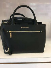 Michael Kors Hailee 35s8gx2s2l MD Leather Satchel Handbag Black