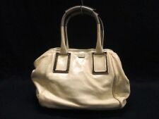 Auth Chloe Ethel Ivory Gray Leather Tote Bag w/Dust Bag,Guarantee