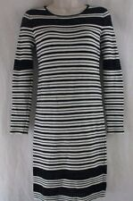 Cache Round Neck Long Sleeve Black; White Striped Bodycon Dress, Size Medium  d5