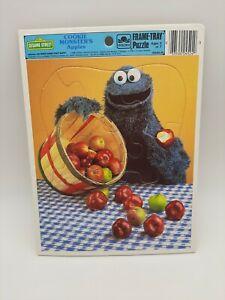 Vtg 1986 Golden Frame-Tray Puzzle Sesame Street Cookie Monster's Apples NEW