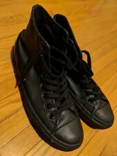 1f6fb9f5d95acc Black Leather Converse High Top Sneakers Size 7 1 2 All Star Minor Defect