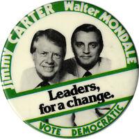 1976 Carter Mondale Bicentennial Logo Campaign Button 3788
