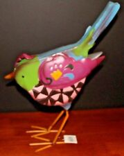 "New Wt Bird Figurine Painted Steel 13X12"" Whimsical Gift Fun Home Decorating"