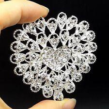 """Big 2.2"""" Alloy Sliver Rhinestone Crystal Brooch Pin Women DIY Wedding Bouquet"""
