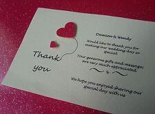 10 Handmade Personalised Wedding Thank you Cards, free envelopes