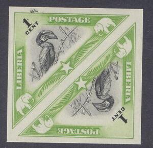 Liberia 1937, 1c bird, IMPERFORATE PAIR, NH #271