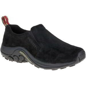 Merrell Jungle Moc Mens Black Leather Slip On Walking Trainers Shoes Size 7-14
