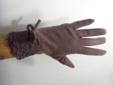 Gants vieux rose hiver femme laine chauds finition dentelle noeud rétro vintage
