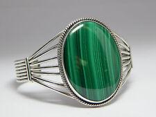 Sterling Silver Large Malachite Cuff Bracelet Vintage Navajo Size 6 1/2