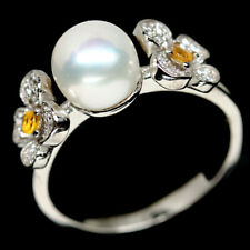 NATURAL WHITE PEARL, SAPPHIRE & CZ STERLING 925 SILVER RING SZ 7
