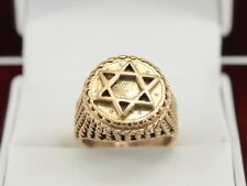 1853 1 Tallar Coin 9ct Gold Ring Star of David Ladies 375 Size I D92