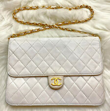 "VTG CHANEL 9.85"" White Quilted Lambskin Leather Single Flap Shoulder Bag Clutch"